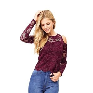 🍩 Ambiance Apparel Lace Cold Shoulder Crop Top